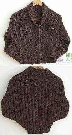 One Piece Fold and Seam Knitting Patterns Crochet Shoes, Knit Crochet, Knitwear Fashion, Crochet Woman, Knitted Poncho, Knitting Designs, Free Knitting, Diy Fashion, Knitting Patterns