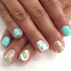 Pineapples & Palm Trees on Glitter and Mint Nails – Fancy Nails Pineapple Nail Design, Pineapple Nails, Cute Summer Nail Designs, Cute Summer Nails, Summer Beach Nails, Mint Nail Designs, Pedicure Summer, Tropical Nail Designs, Tropical Nail Art