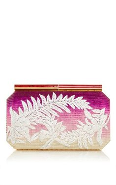 Shop Saya Clutch in Magenta Raffia. This clutch by **Oscar de la Renta** is rendered in ombre raffia and features an embroidered floral pattern. Couture Purses, Magenta, Purple, Cocktail Attire, Tropical Style, Fashion Designer, Beautiful Bags, Evening Bags, Red And Pink