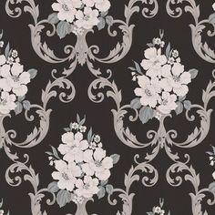 Dauphin Wallpaper - Black  - 56 square feet