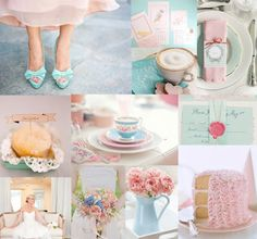 Pretty collage of pinks and pale blues