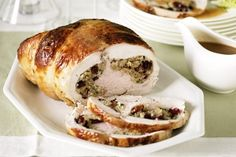 Roast turkey breast with cranberry and walnut stuffing