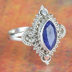 Engagement Rings – Amazing Silver Natural Sapphire Ring BJR-417-SA – a unique…