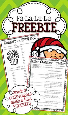 Christmas MATH & ELA FREEBIE--rounding to the nearest 10 & 100 and using pronouns. Fun, engaging, seasonal skills practice.