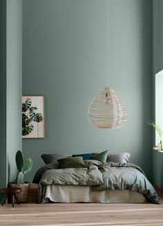 home decor bedroom Modern Earthy Home Decor: Soothing bohemian bedroom with soft pistachio green blue walls and rattan hanging lamp Green Rooms, Bedroom Green, Bedroom Wall Colors, Wall Colours, Green Bedroom Design, Interior Wall Colors, Bedroom Ideas Paint, Bedroom With Green Walls, Master Bedroom Color Ideas