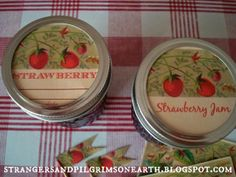 "Strangers & Pilgrims on Earth: Strawberry ""Mason Jar Labels and More"" Gift Kit ~ Free Printable Jar Labels, Strawberry Jam, Free Printables, Pilgrims, Mason Jars, Paper Crafts, Earth, Garden Gate, Kit"