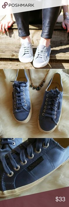 Superga X-Man Repeller Satin sneaks Very good condition. Adorable cornflower blue color. Rock with jeans, tights, or anything. These cuties are attention pulled. Don't miss out Superga Shoes Athletic Shoes