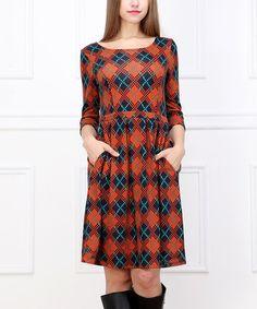 Look what I found on #zulily! Orange & Blue Plaid A-Line Dress #zulilyfinds