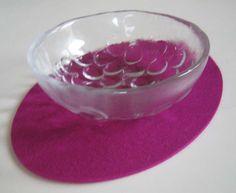 Magenta Felt Small  Oval Placemat,  Magenta Felt Trivet. $12.00, via Etsy.