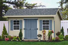 amish potting shed windows | E4401 8x14 Classic Saltbox Shed Paint: Beige, Trim: E.A. Blue, Roof ...
