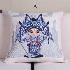 Beijing opera cartoon pillow Chinese style decorative sofa cushions