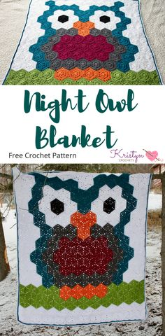 Night Owl Blanket is a free crochet pattern featuring Red Heart Soft Yarns and Hexagons.  This is an easy pattern, and can be customized to fit your style.  All it takes is crocheted hexagons and half hexagons to make this owl.