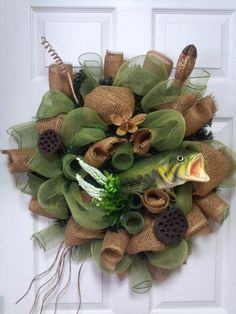 Daddy-burlap fish wreath by SandDDesigns on Etsy, $60.00
