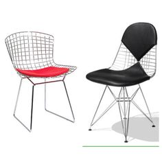 The DKR Wire Chair is a variation on the iconic one-piece seat shell chairs designed by Charles and Ray Eames.