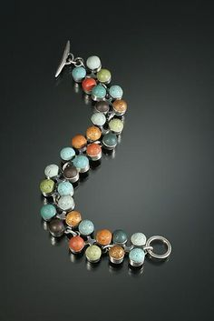 """""""Multi-Color Four Squared bracelet"""" - Silver & Polymer Bracelet - by Lou Ann Townsend and Mary Filapek"""