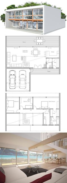 Minimalist Contemporary Home Plan Want a bit bigger kitchen and min room. Good for flat lot with view/ greenbelt Contemporary House Plans, Modern House Plans, House Floor Plans, Casas Containers, Sims House, Home Interior, Planer, Future House, Interior Architecture