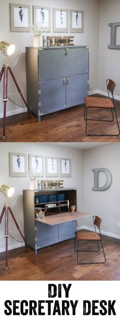 LOVE this Secretary Desk! Free plans and woodworking tutorial are at www.shanty-2-chic.com!