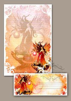 #USWST1 Stationery - Fire Faery - Fairy & Fantasy Art  Tags: fairy, fairy art, fairy stationery , fairy wholesale, wholesale fairy station...