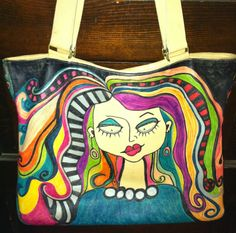 This is one of my Sharpie art pieces.  It was a light tan Coach leather bag that I drew on.