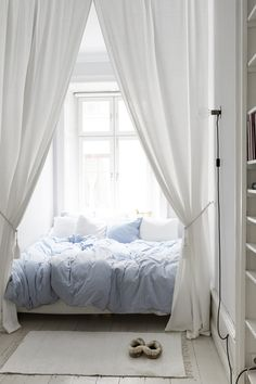 bedroom with flowy curtains + airy | #bed #white
