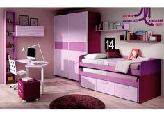 Dormitorio en lavanda lila berenjena y rayas lila
