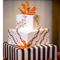 wedding cakes pictures with orange fondant | Contemporary Square Wedding Cake - Orange Themed Wedding Photos