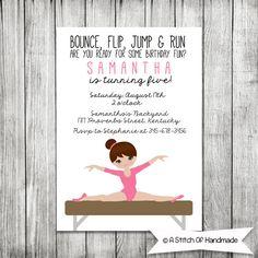 Gymnastics Party  Birthday Printable by AStitchOfHandmade on Etsy, $10.00
