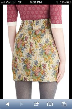 Cute tapestry skirt with tights and lightweight sweater