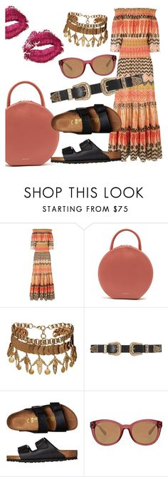 """""""Motion in the Ocean"""" by chelsofly ❤ liked on Polyvore featuring Temperley London, Mansur Gavriel, Elizabeth Cole, B-Low the Belt, Birkenstock and Michael Kors"""
