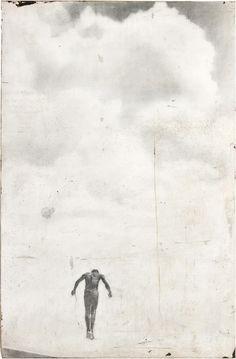 fieryello: in the clouds, graphite on panel, Jane Hambleton