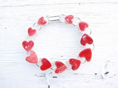 Red heart bracelet love words ceramic silver by damsontreepottery, £24.00