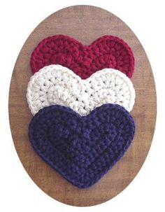 Previous Pinner: Americana Heart Potholders Set of 3 Heart Shaped Hot Pads Patriotic Crochet Boutique Red White Blue Home Decor of July by marcy Crochet Potholders, Crochet Squares, Crochet Motif, Crochet Flowers, Knit Crochet, Crochet Patterns, Holiday Crochet, Crochet Home, Crochet Kitchen