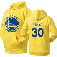Gold States Warriors Stephen Curry #30 logo pullover hoodie sweatshirt has a screen printed Curry logo in the front.