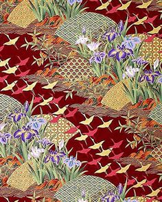 GOLDEN CRANES: RED/GOLD ASIAN JAPANESE ORIENTAL QUILT FABRIC (1/2 YD)