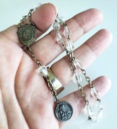 Antique Saint St Anne De Beaupre Clear Crystal Chaplet Rosary Silver Plated Clear Crystal, Crystal Beads, Crystals, St Anne, Religious Jewelry, Vintage Silver, Mini, Silver Plate, Pendants