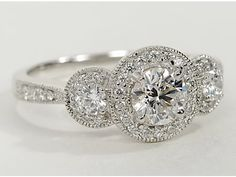 Three Stone Milgrain Halo Engagement Ring