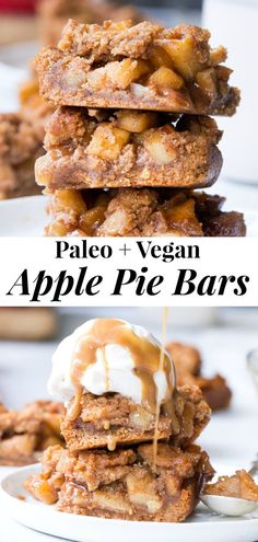 paleo dessert These vegan and Paleo apple pie bars have a delicious almond butter crust and crumb top and perfect gooey sweet apple pie filling! Theyre a fun healthy dessert to make and eat with kids, gluten-free, dairy-free, paleo and vegan. Paleo Dessert, Dessert Sans Gluten, Gluten Free Desserts, Healthy Desserts, Dessert Recipes, Dessert Bars, Healthy Apple Snacks, Healthy Baking, Healthy Fats