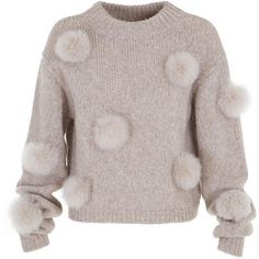 Tibi Alpaca Pompom Cropped Sweater ($450) ❤ liked on Polyvore featuring tops, sweaters, pullover sweaters, tibi, brown pullover sweater, crop top and pom pom crop top