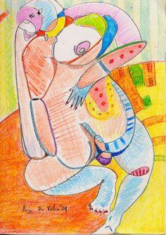 """""""Femme"""". Grafito y crayolas sobre papel. México 2009. Herza Du Valca."""
