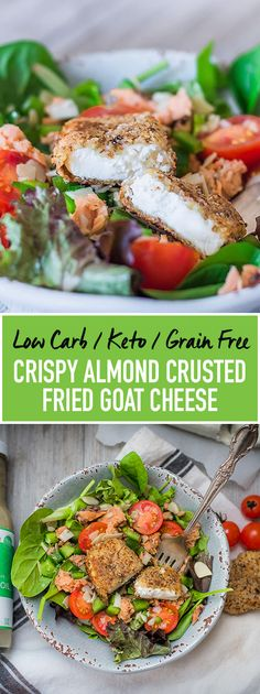 Delicious Almond Crusted Fried Goat Cheese (Low Carb, Keto).Crunchy on the outside, smooth and warm cheesy goodness on the inside.  This is the ultimate way to spice up your #salad. #LowCarb and #Keto friendly.  Did you know? Many people who are sensitive to cows milk #cheese find that they can still have goat cheese. That's because goat cheese has a different protein structure than cows milk. It also has more vitamins and minerals. Pin via WildRootsKitchen.com