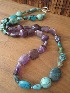 turquoise & amethyst necklace
