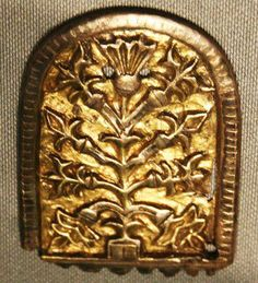 """This image is a gold plate from 9th century AD Torshov (The Temple of Thorr), Akershus, Norway, showing the image of a tree – probably the World Tree.  .  The World Tree represents the universe and is known by many names, the most famous being Yggdrasill – """"The Old/Terrifying Steed"""" (Yggr is also a name of Óðinn, meaning Old or Terrifying – Drasill means a steed, usually a horse)."""