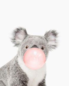 Koala print, Bubble gum, Nursery art, Koala wall art, Animal, Kids room, Modern art, Wall decor by Julia Emelianteva