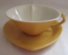 Mary Kay Yellow Heart Shaped Porcelain Tea Cup and Saucer Set  #MaryKay