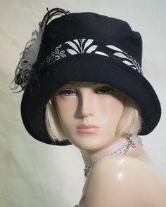 VINTAGE INSPIRED 1920s STYLE BLACK CLOCHE HAT DOWNTON ABBEY GATSBY