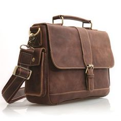 """Vintage Crazy Horse Leather Briefcase / Messenger / 11"""" MacBook Air or 12"""" Laptop Bag in Old Dark Brown This handmade leather bag is made..."""