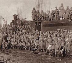 The Czech Legion and one of their armored trains. Russian Revolution 1917, Red Army, World War I, First World, Wwii, Czech Republic, Pictures, Military Equipment, Interesting Stuff
