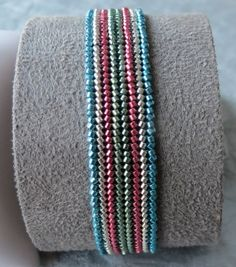 Herringbone stitched bracelet made with Delica galvanized size 11 beads