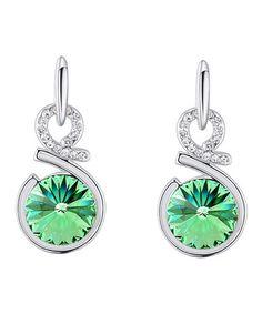 Another great find on #zulily! Peridot Swarovski® Crystal Rivoli Drop Earrings #zulilyfinds