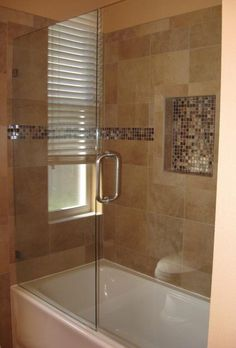 Almost looks like our bathroom tub/shower but with frameless glass shower door instead of curtain. Bathtub With Glass Door, Bathtub Shower Doors, Glass Shower Doors, Glass Doors, Frameless Shower, Bath Shower, Rainfall Shower, Bathroom Showers, Bath Tub